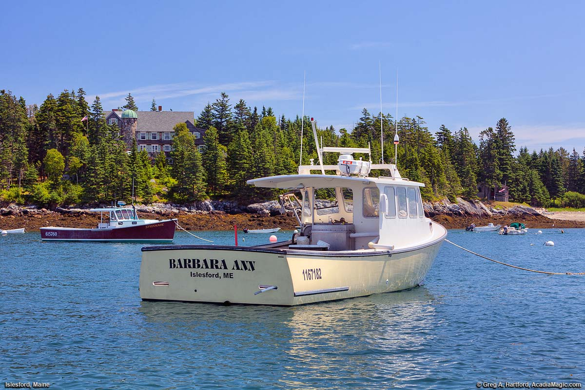 Yacht next to islesford dock on little cranberry island maine for Fishing boat rentals near me