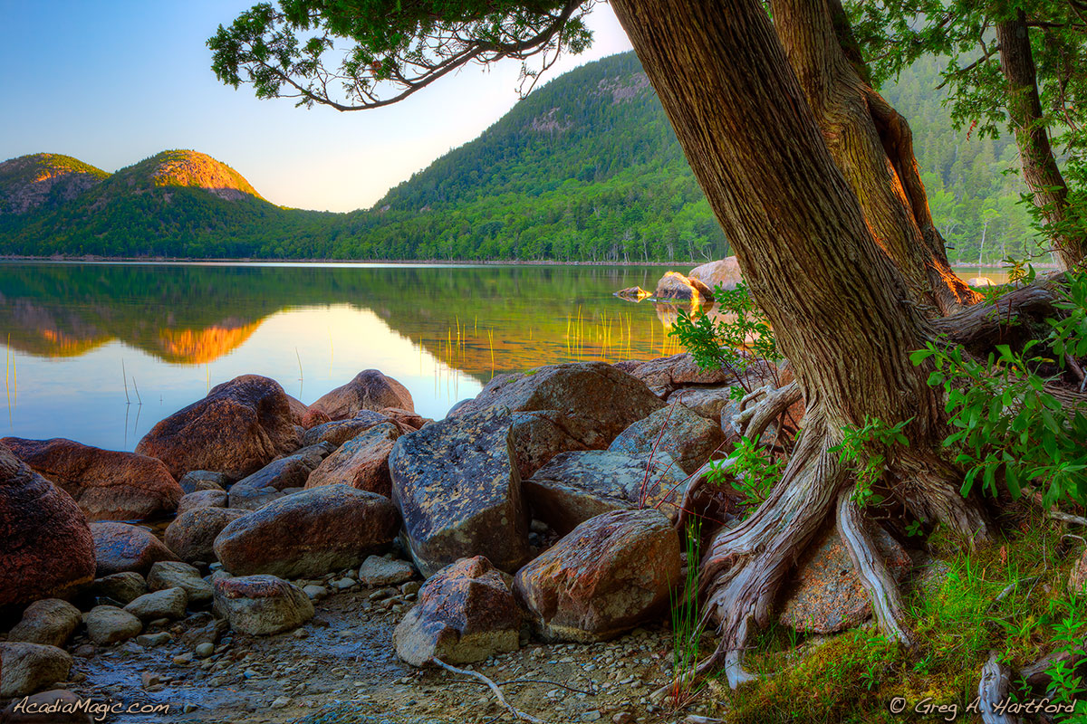 Early morning on Jordan Pond in Acadia National Park