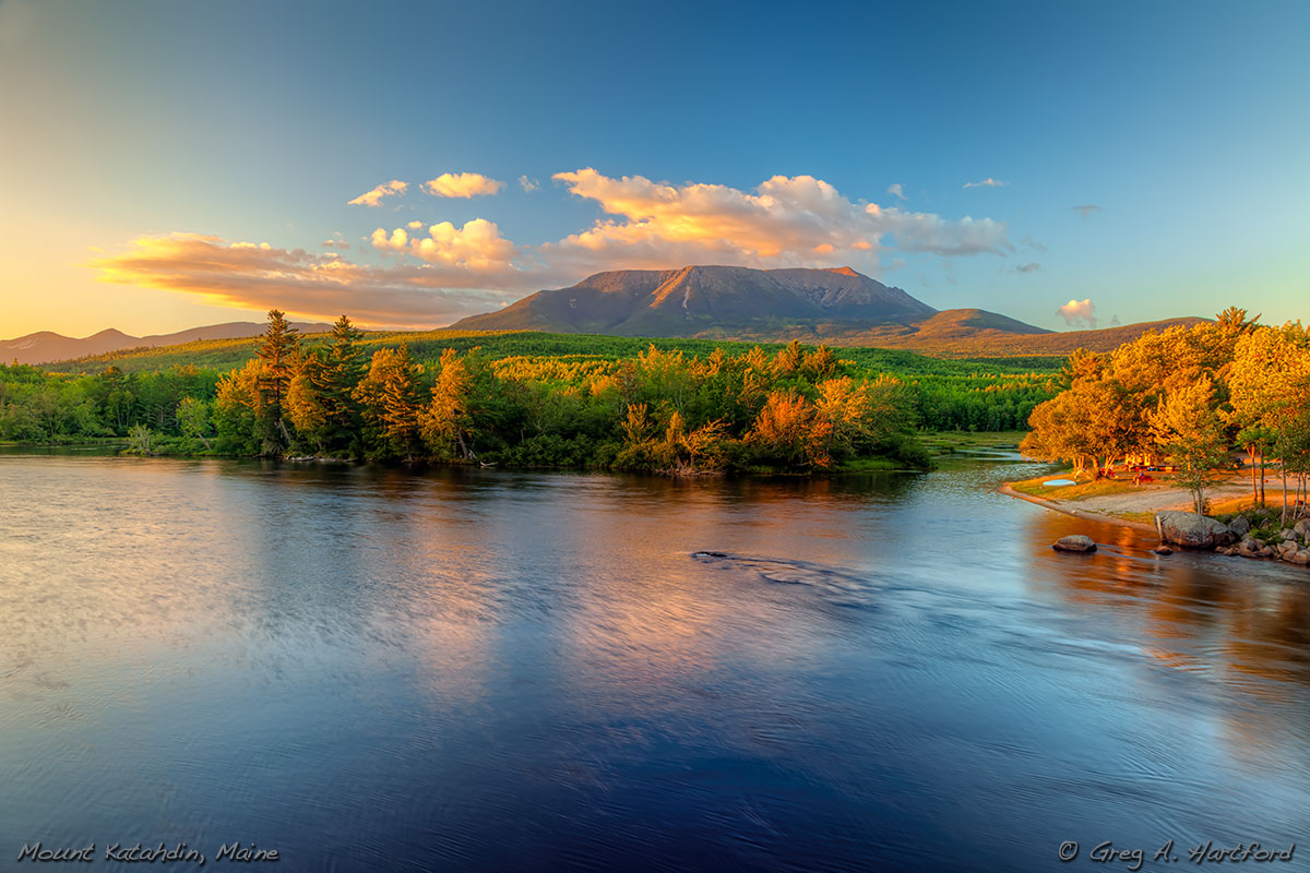 Mount Katahdin viewed from Abol Bridge in Northern Maine