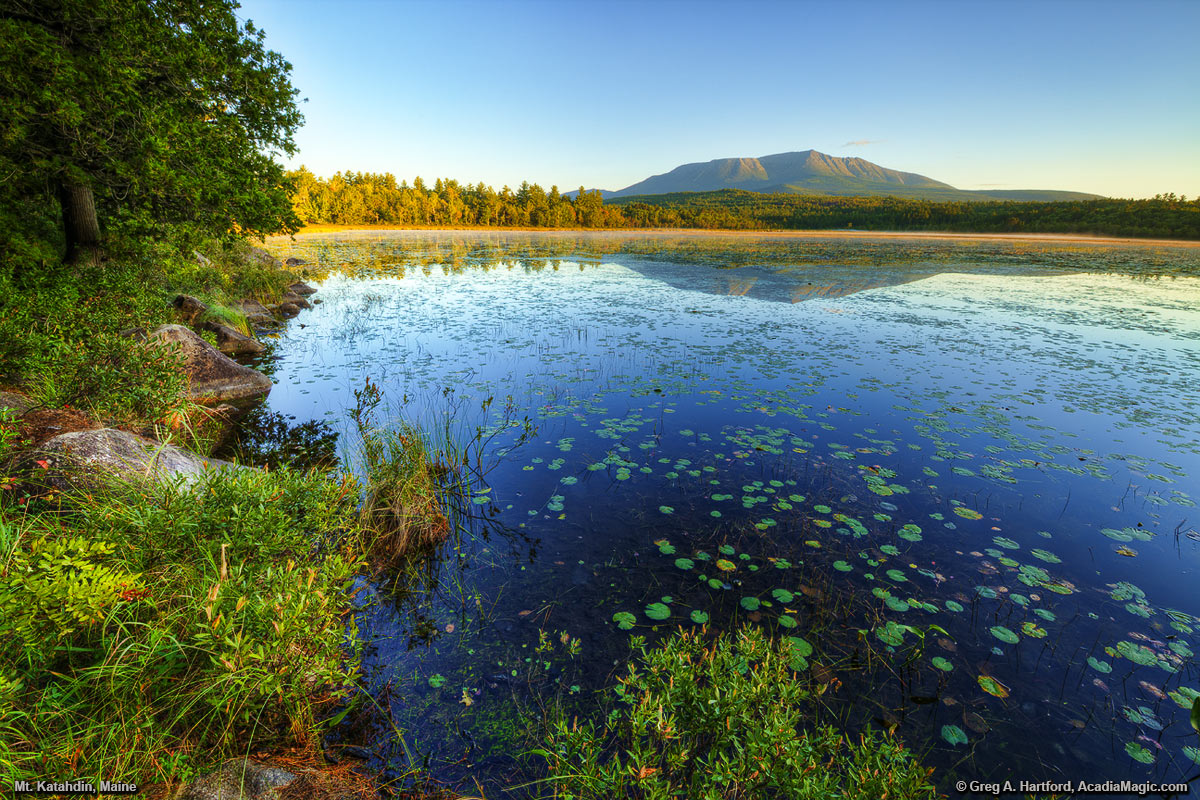 Mount Katahdin, Maine during early September with lily pads on Compass Pond