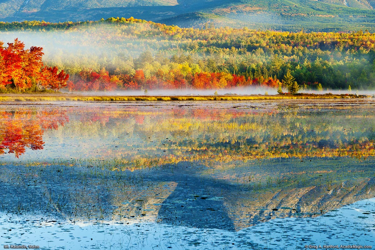 Autumn Reflection of Mount Katahdin at Compass Pond in Maine USA