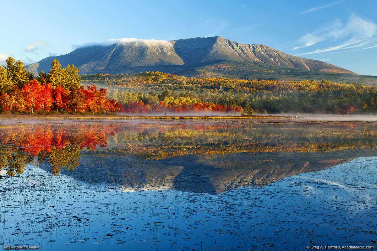 Mount Katahdin Maine With Autumn Reflection On Compass Pond