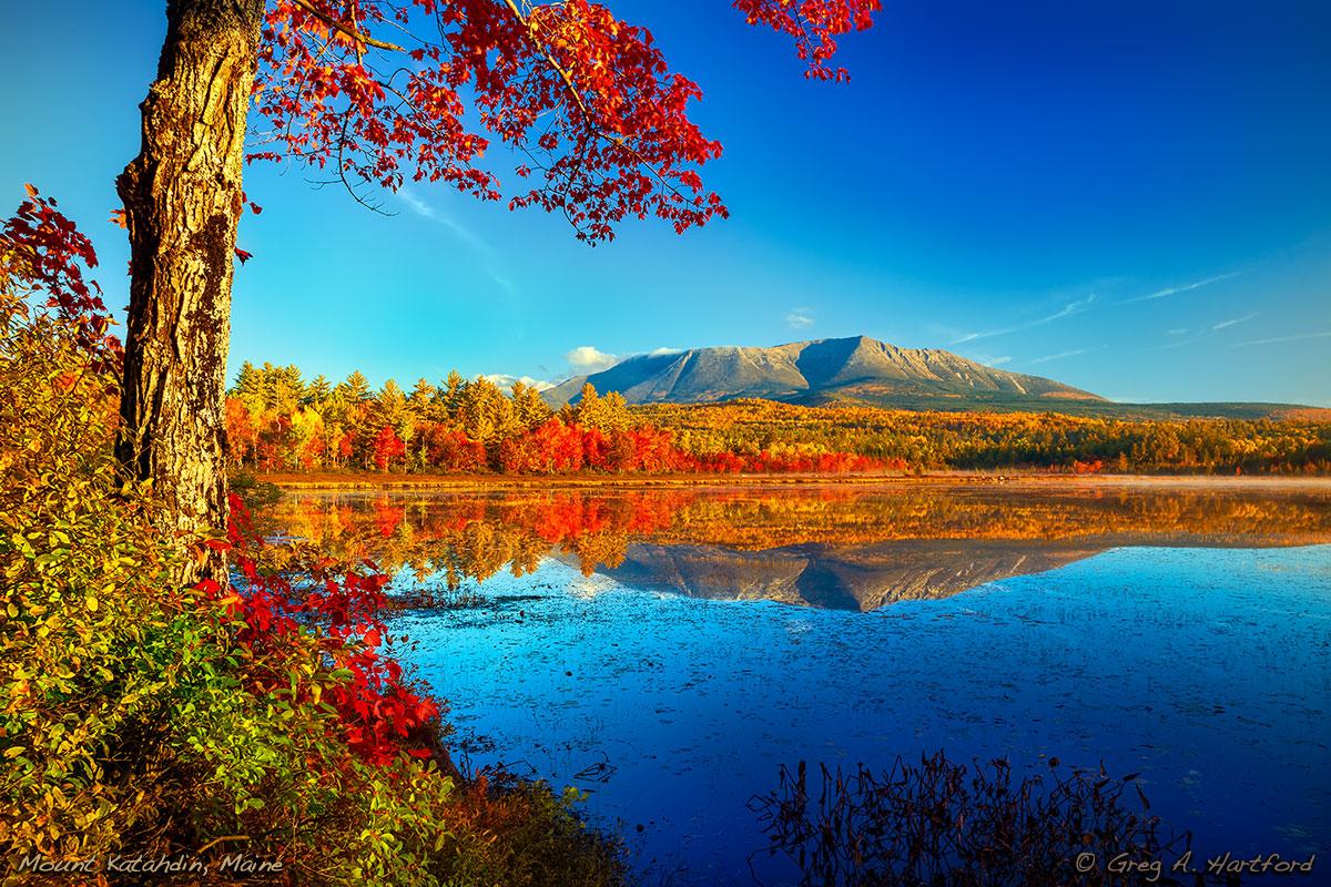 Mount Katahdin viewed from Compass Pond during the Autumn Season