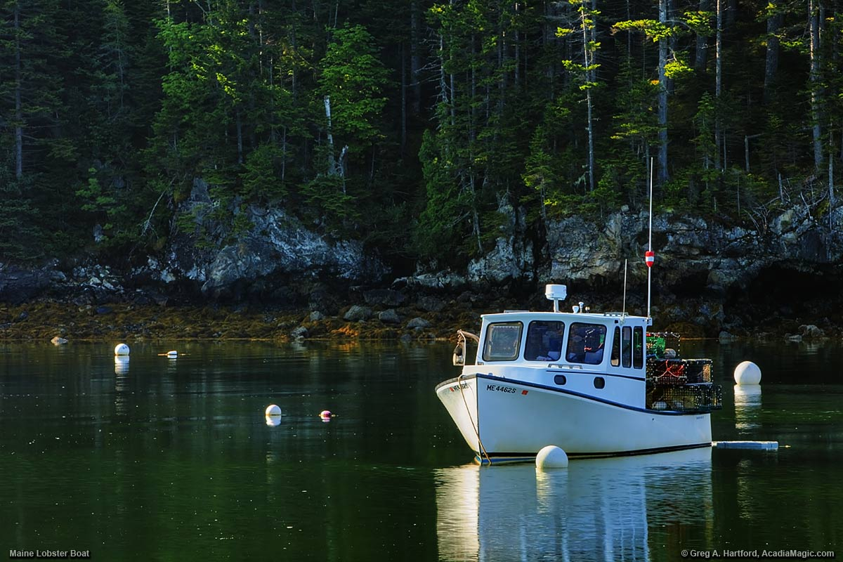 A Maine lobster boat in Seal Cove, Maine