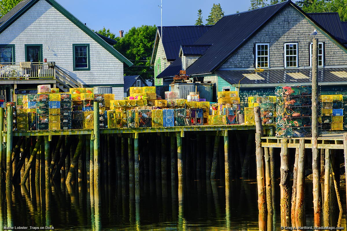 Maine Lobster Traps On Dock In Bernard Maine
