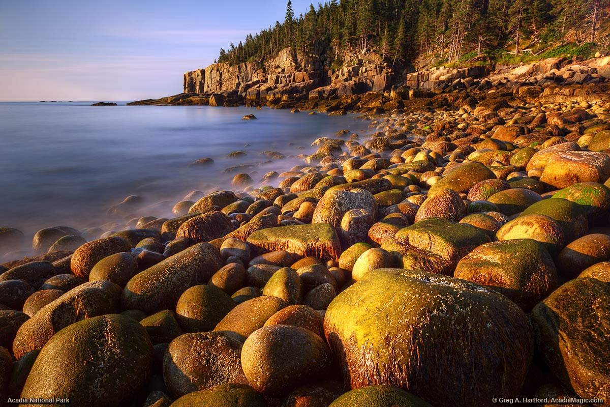 Otter Cliff & Round Boulders at Otter Cliff in Acadia National Park at sunrise