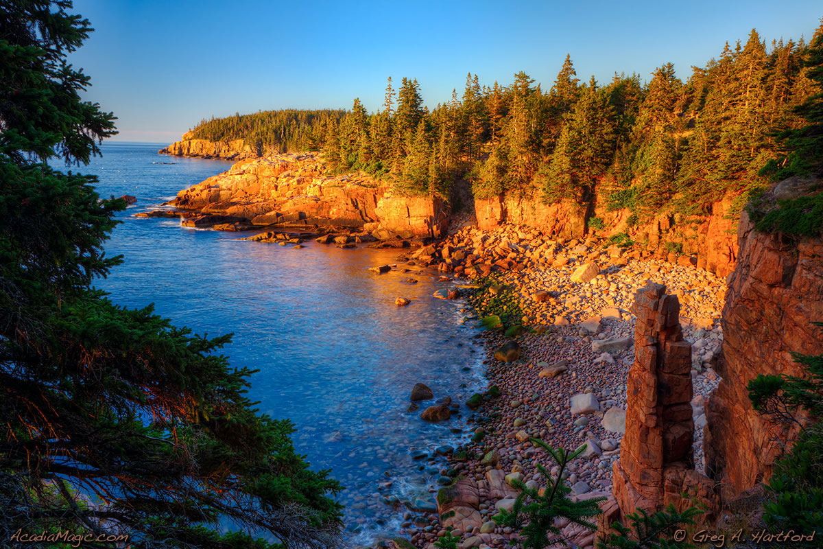 A view of Otter Cliff from Monument Cove in Acadia National Park