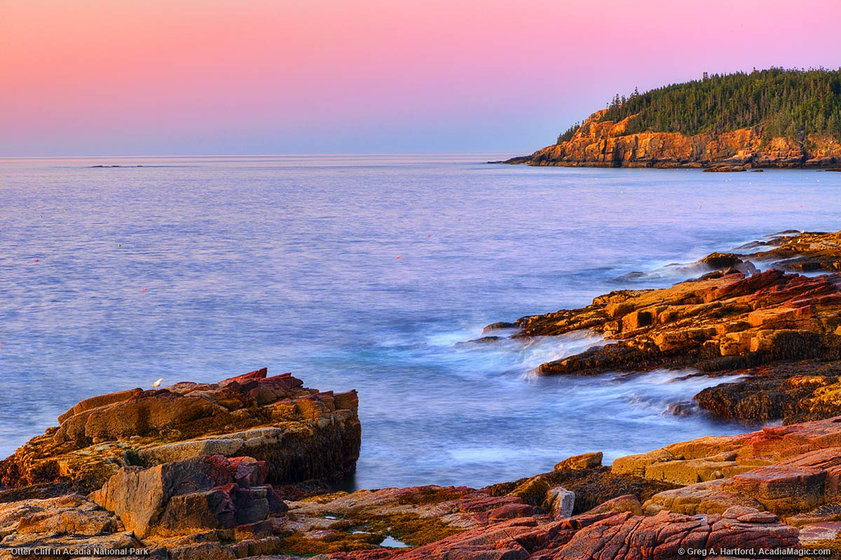 A view of Otter Cliff one half hour before sunrise in Acadia National Park