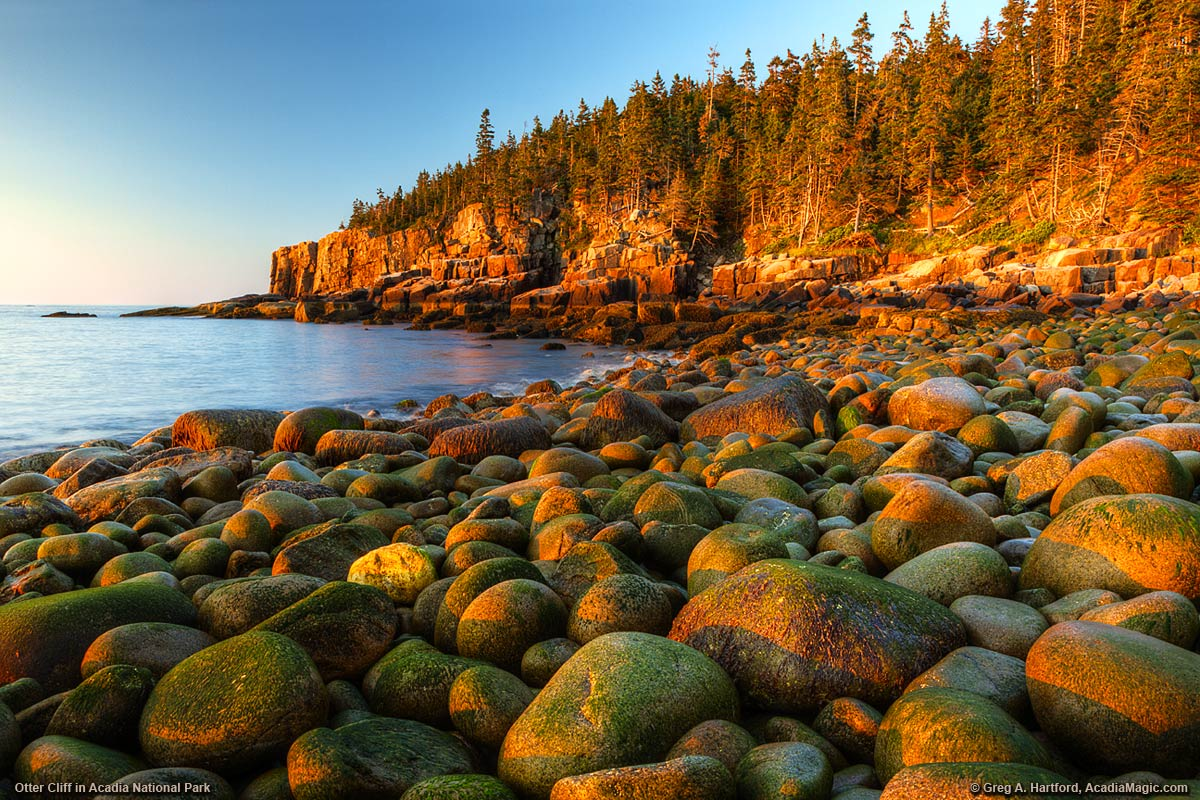 Sunrise at Otter Cliff in Acadia National Park, Maine