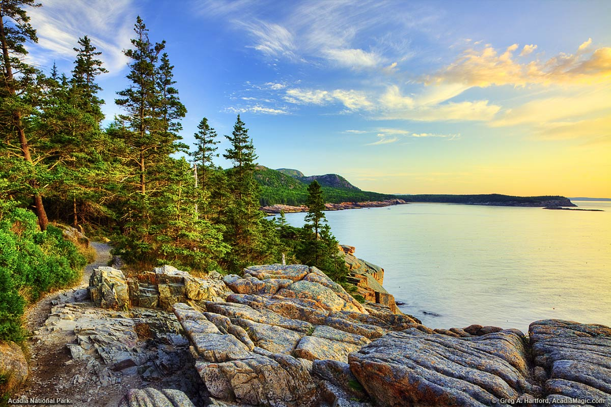 This shows the Ocean Path at Otter Cliff in Acadia National Park.