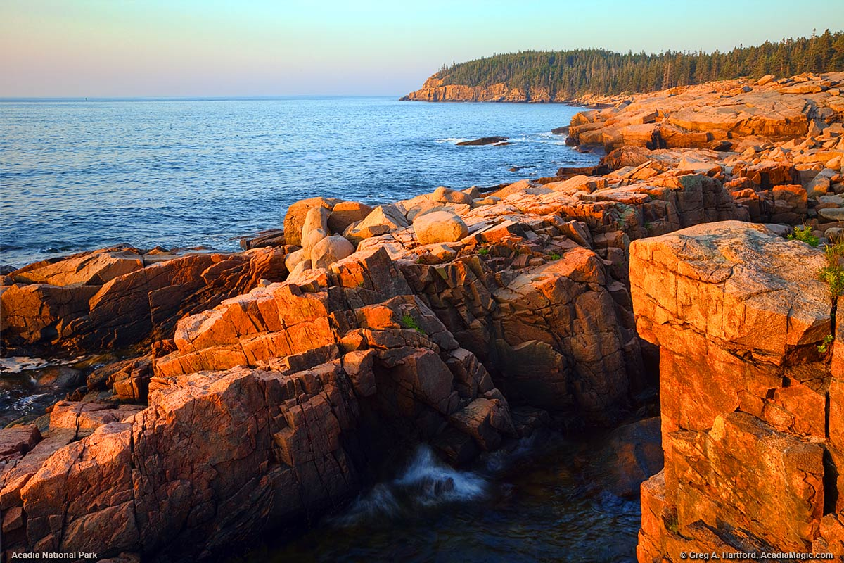 Sunrise in Acadia National Park of Otter Cliff on Mount Desert Island