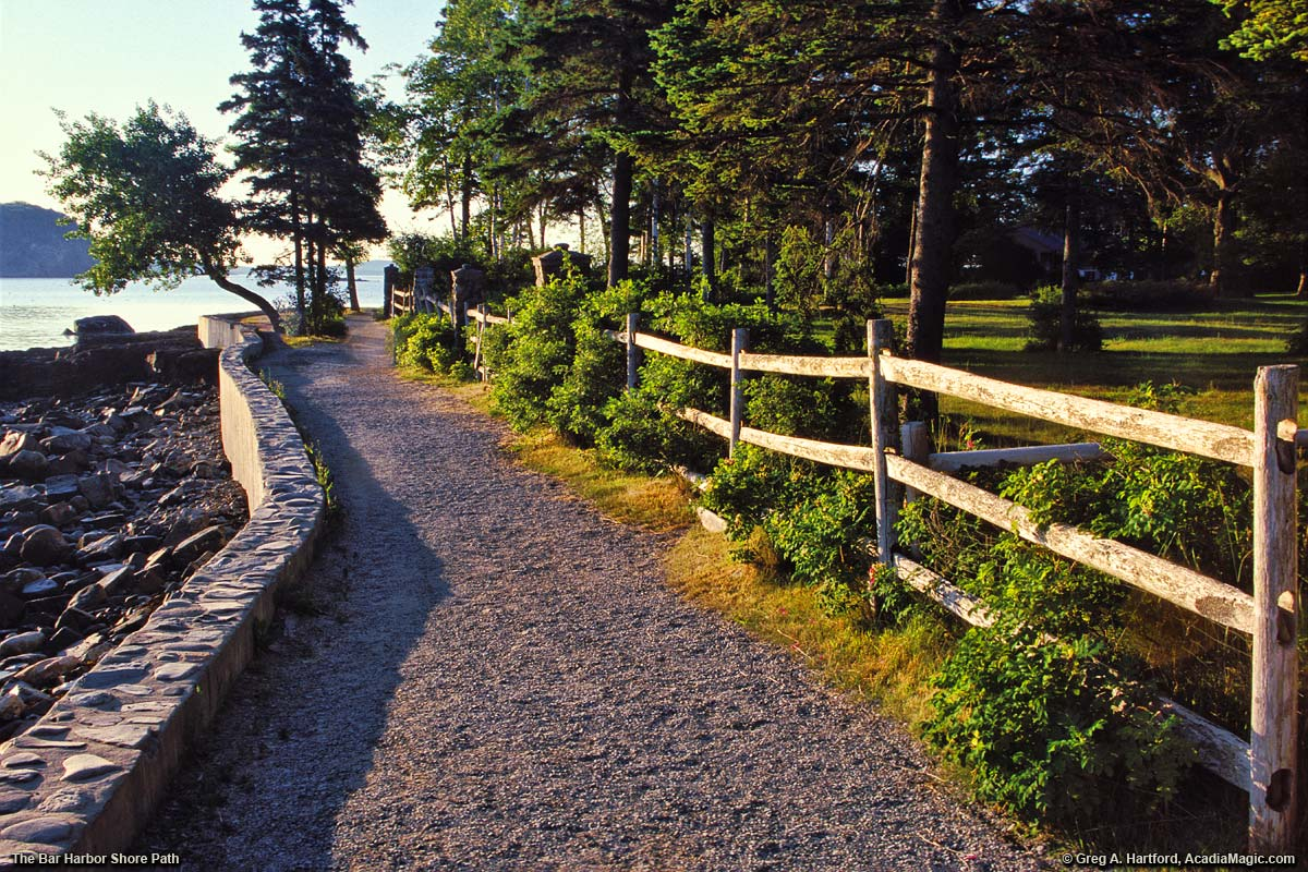 Bar Harbor Shore Path with long log fence