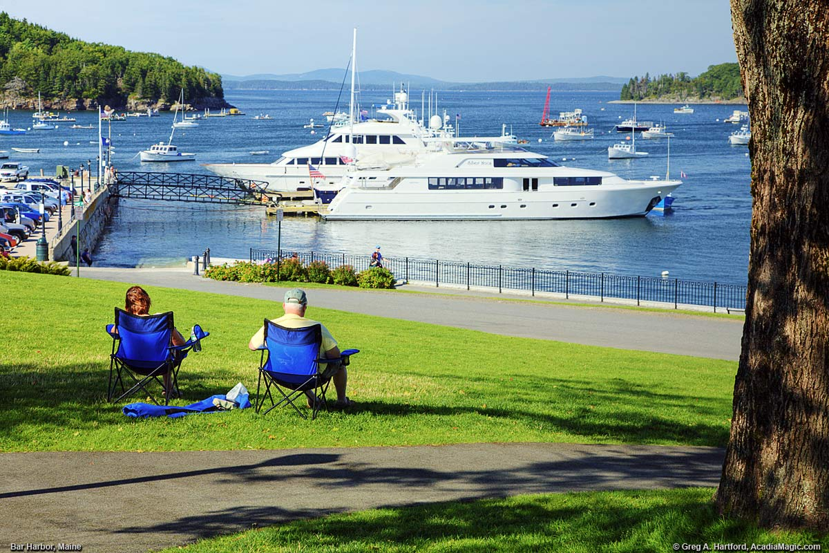 Bar Harbor, Maine and the Shore Path with yachts