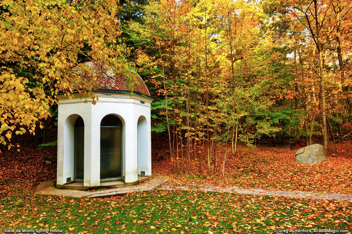 Acadia's Sieur de Monts Spring House during autumn season