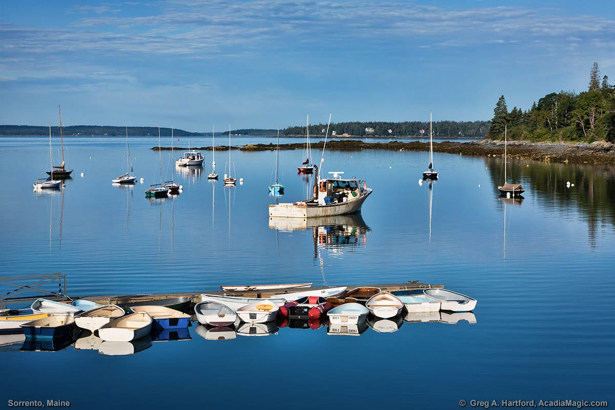 This shows boats in the harbor in Sorrento, Maine.