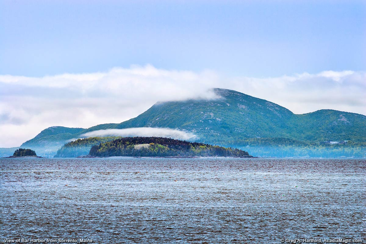 View of Bar Harbor and Champlain Mountain from Sorrento