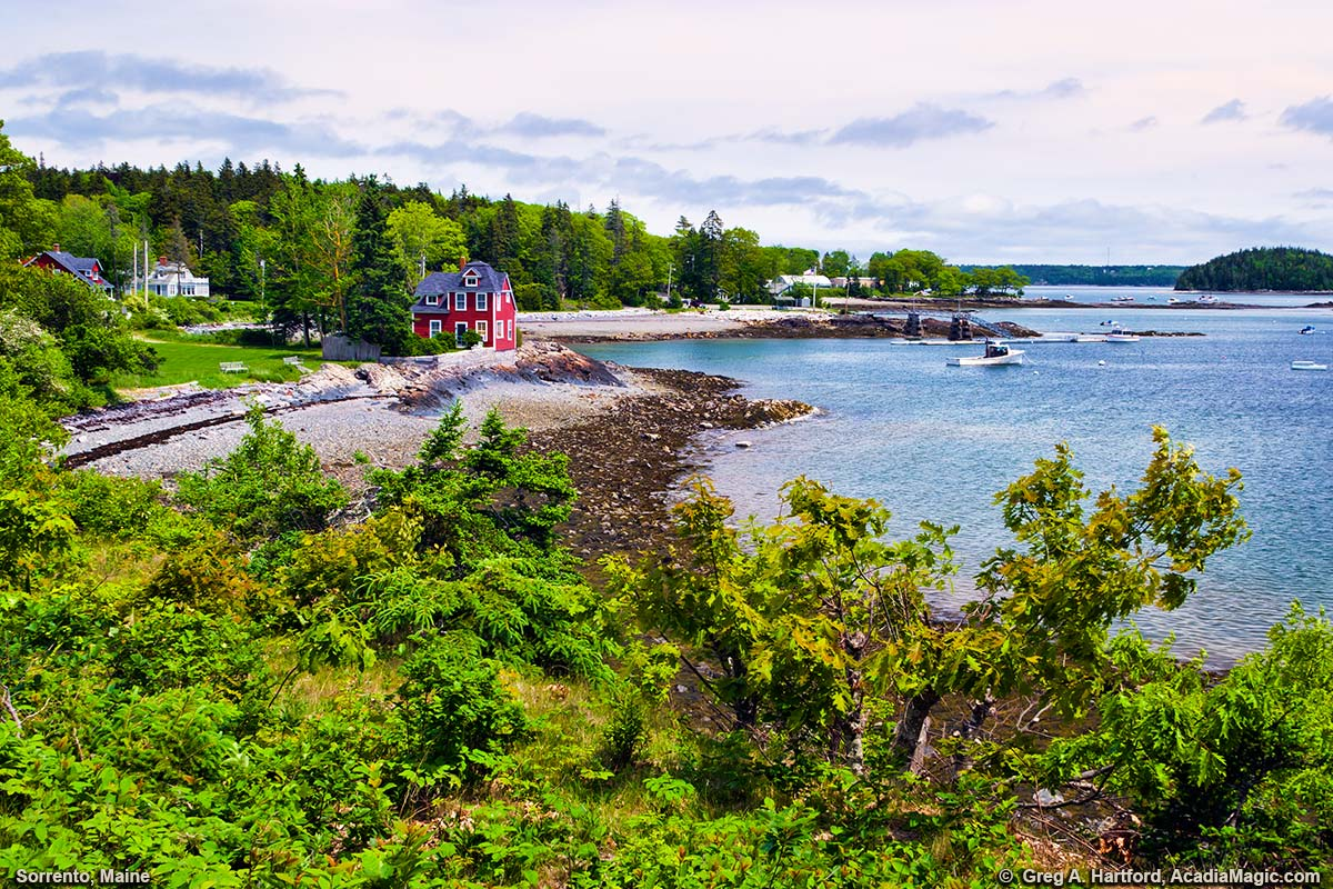 A view of Sorrento Harbor on the coast of Maine