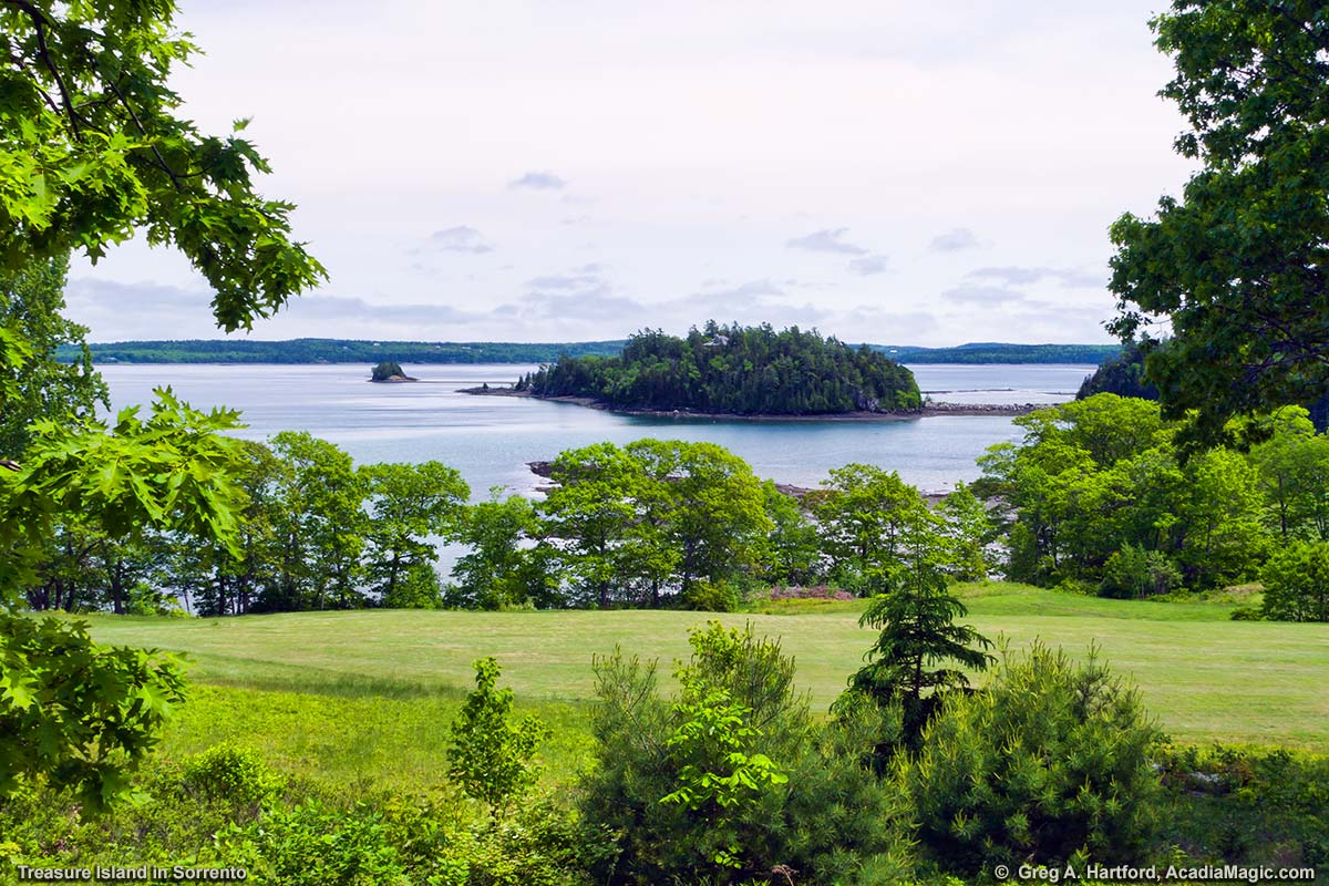 Treasure Island can be seen from Blink Bonnie Golf Course in Sorrento, Maine.