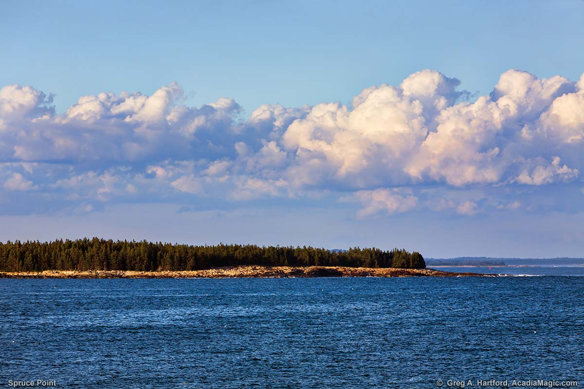 This photo shows Spruce Point as viewed from Acadia National Park on the eastern side of Schoodic Peninsula in Maine.