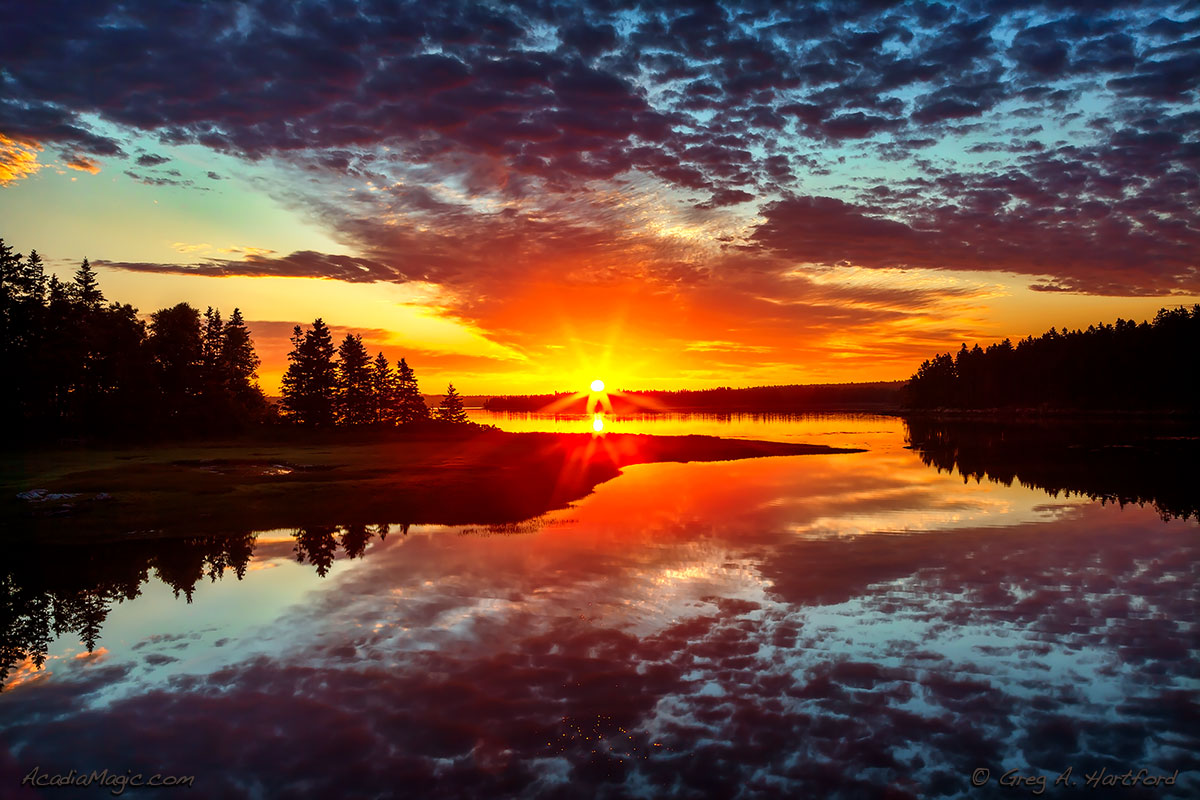 Sunrise over Bar Harbor in Acadia National Park, Maine