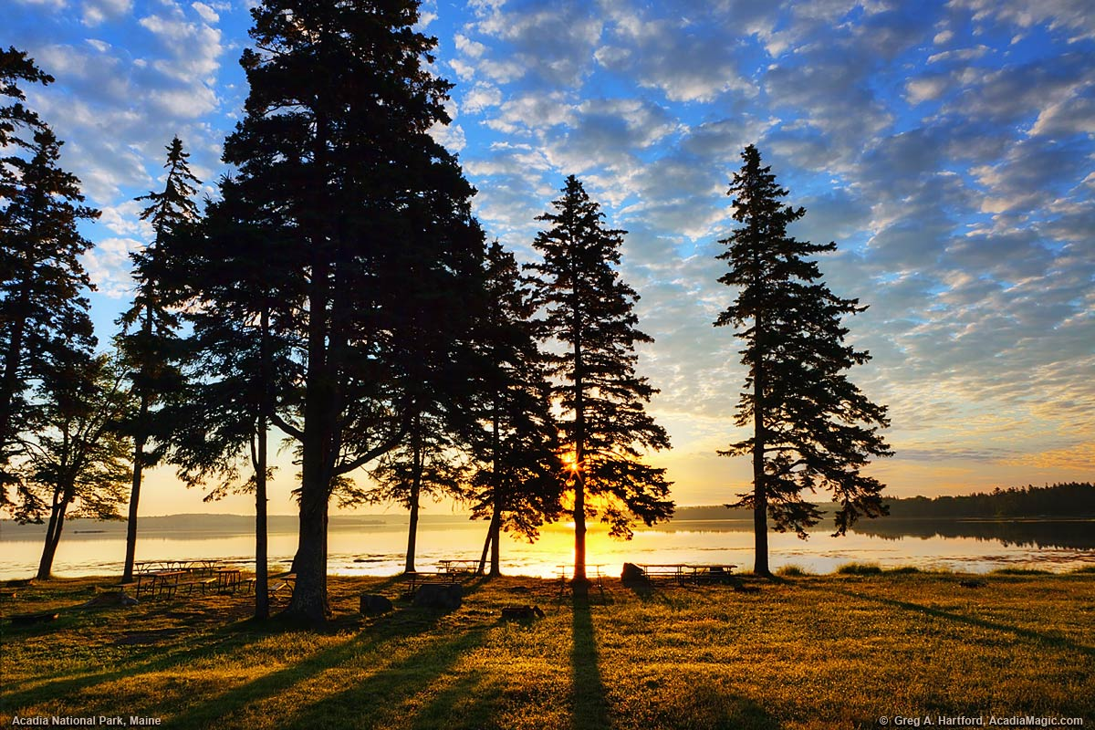 Sunrise on Thompson island in Trenton, Maine, part of Acadia National Park