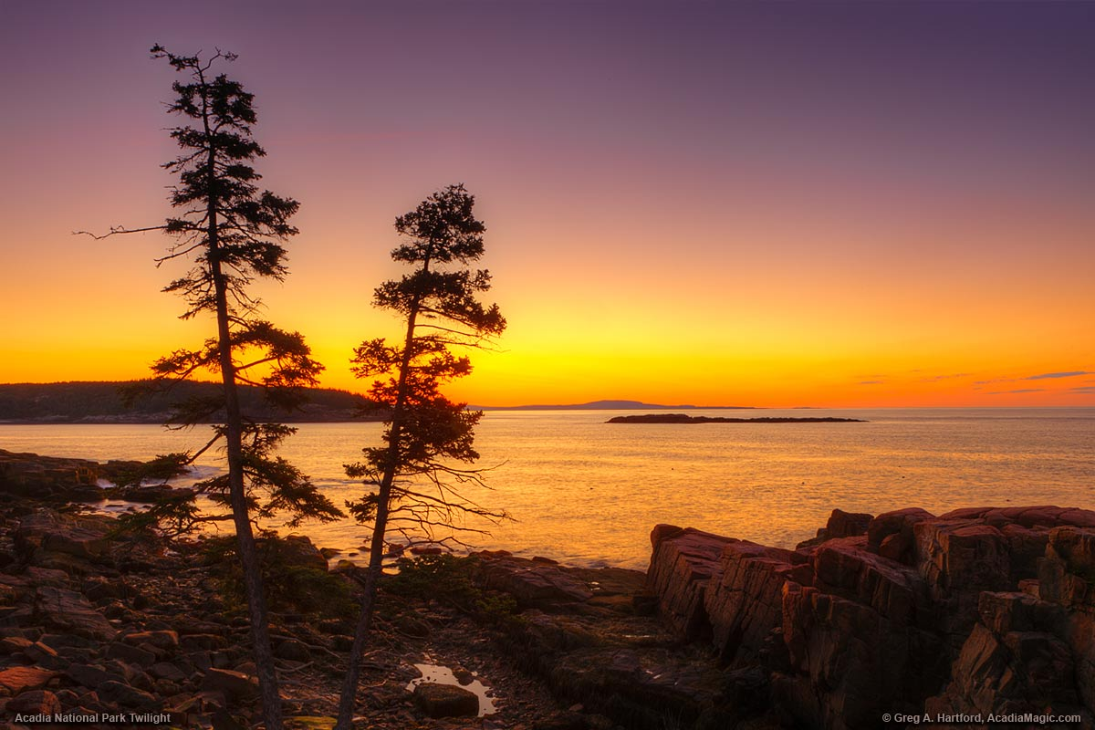 The colors of twilight just before the dawn in Acadia National Park