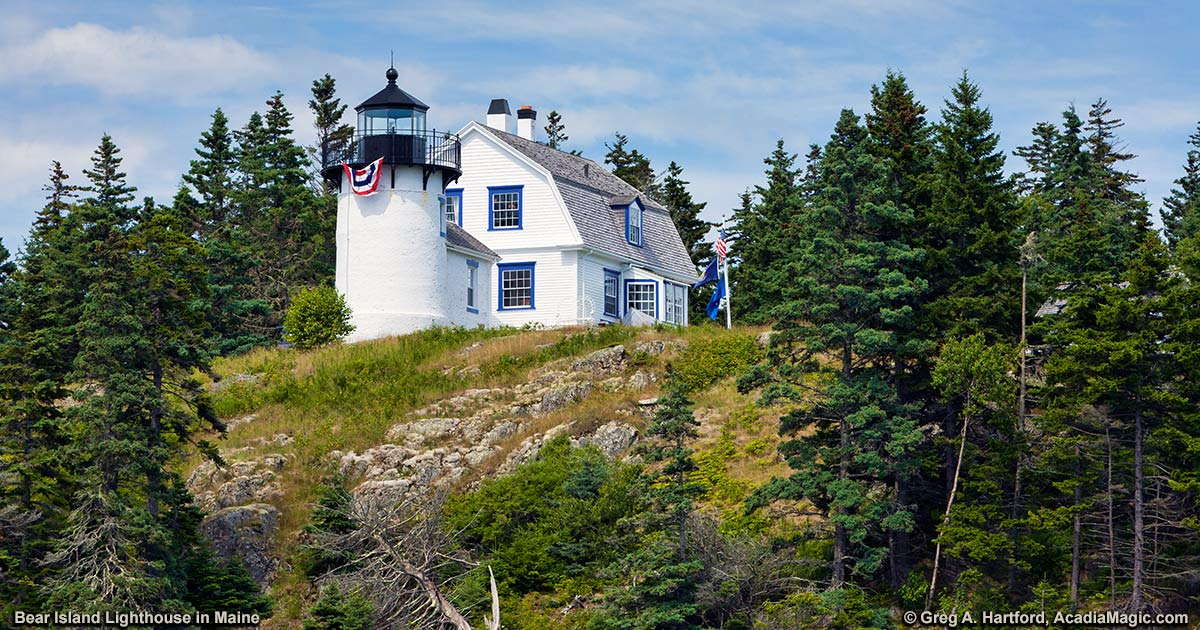 Bear Island Lighthouse At Entrance To Somes Sound Acadia