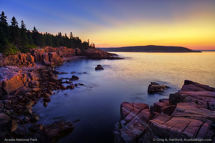 The twilight colors of Acadia National Park, Maine