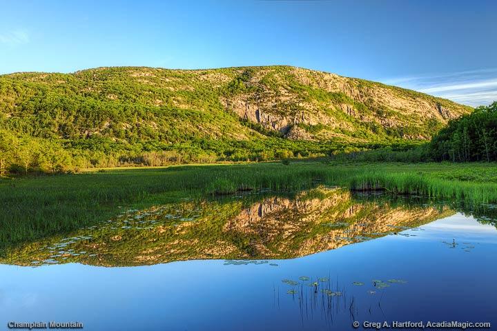 Champlain Mountain with reflection in water