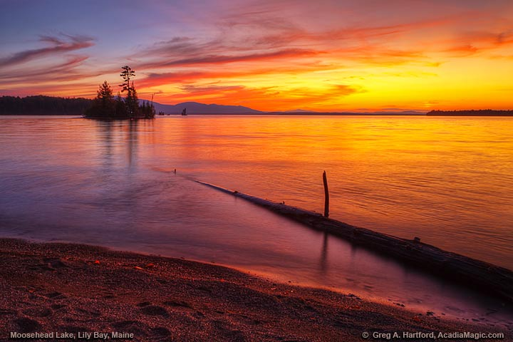 Sunset at Moosehead Lake at Lily Bay State Park, Maine