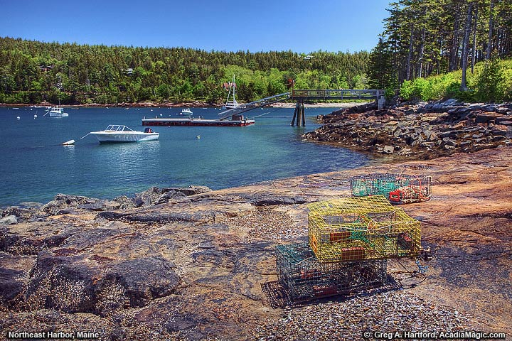 Maine lobster trap on the shore