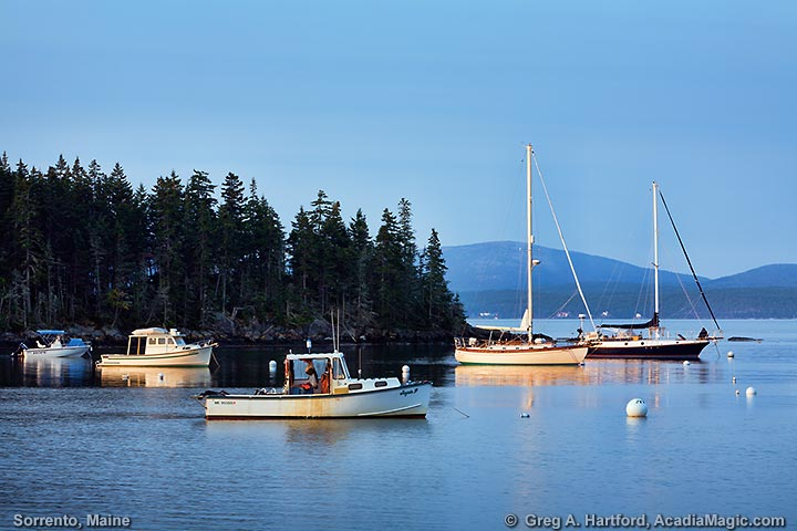 Boats at sunrise in Sorrento, Maine