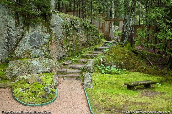 View of path and door leading to the Eliot Mountain Hiking Trail in Acadia National Park