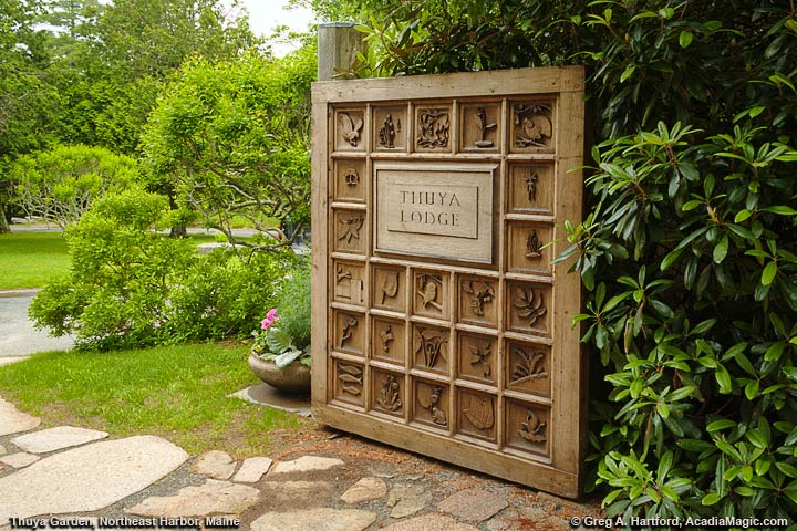 Hand carved cedar entrance door to Thuya Garden and Lodge & Thuya Garden - Northeast Harbor Maine - Acadia