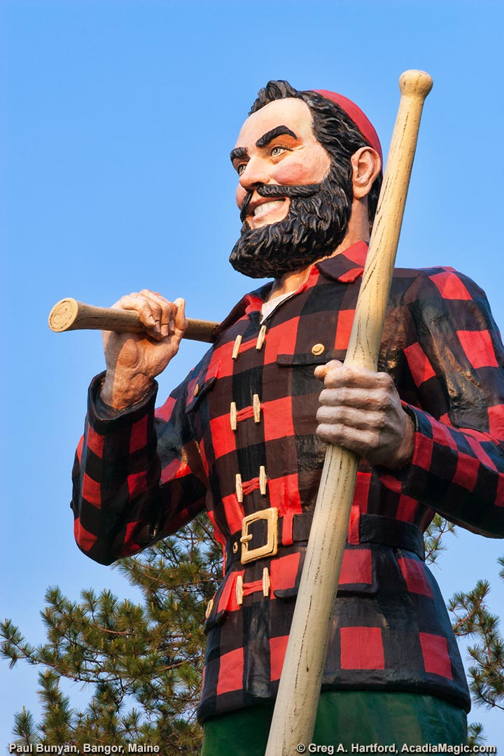 The Lumberjack Paul Bunyan stands holding his ax