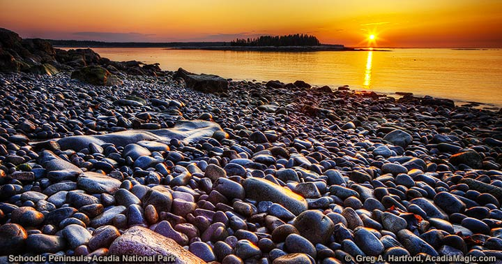 Sunrise on east coast of Schoodic Peninsula
