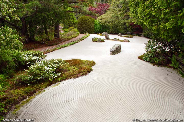 Japanese Styled Garden with fluid lines of sand
