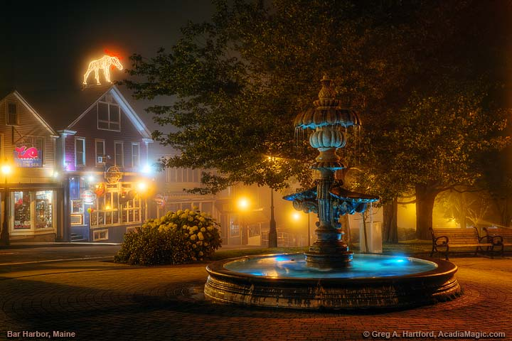 Foggy night next to fountain in Bar Harbor