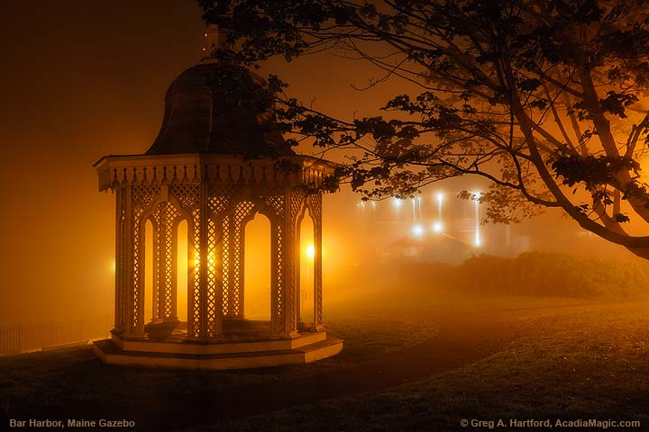 Bar Harbor gazebo at night in fog