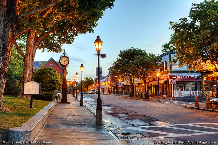 Main Street next to Village Green in Bar Harbor, Maine
