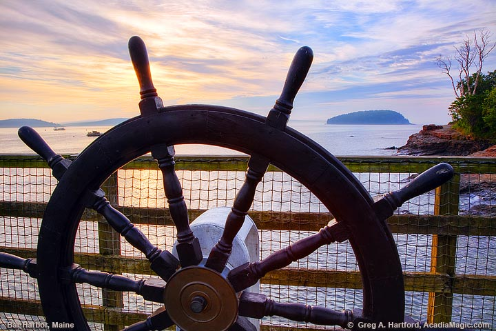 Navigation wheel on dock in Bar Harbor, Maine