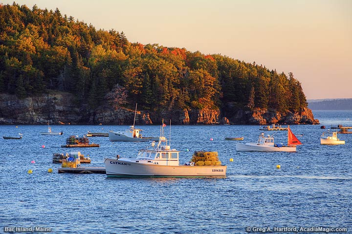 Maine Lobster Boats at sunrise during autumn