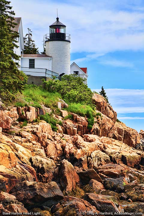 View of Bass Harbor Head Lighthouse in Acadia National Park from the western side