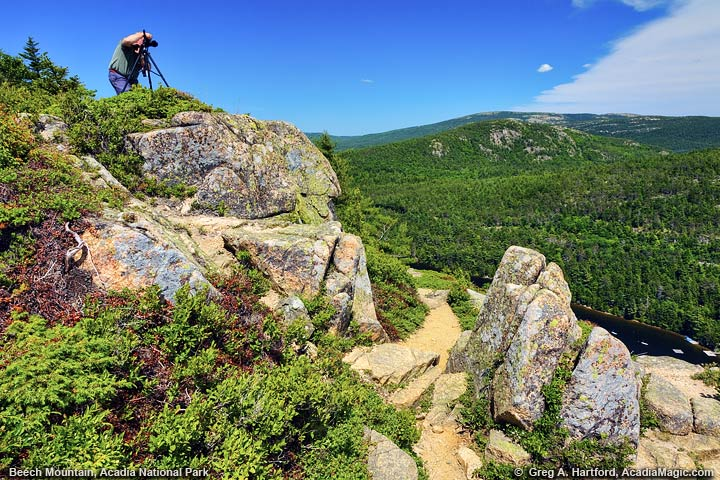 A photographer tries to capture the landscape from Beech Mountain