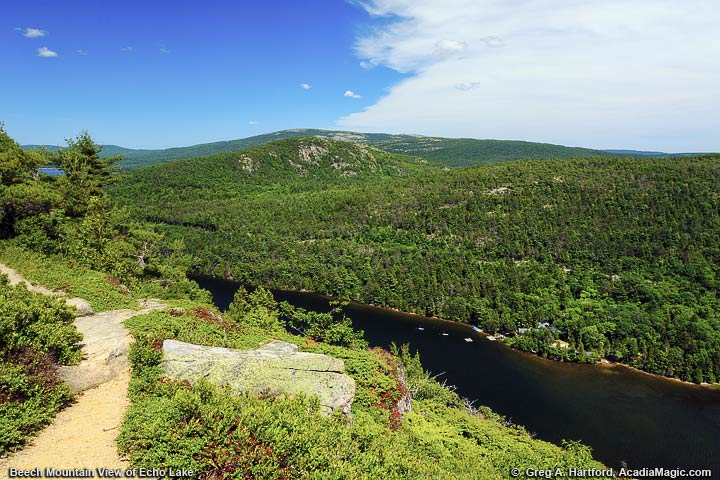 The Beech Mountain Hiking Trail next to Echo Lake in Acadia