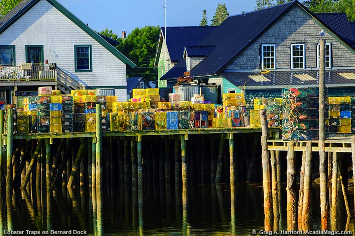 Lobster traps on dock in Bernard, Maine