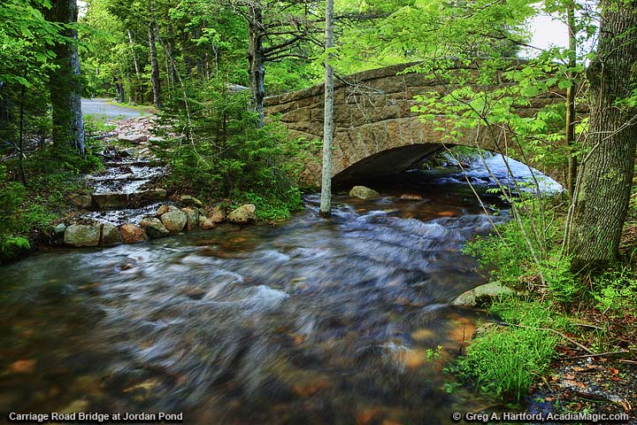 The Carriage Road and Bridge at Jordan Pond in Acadia National Park
