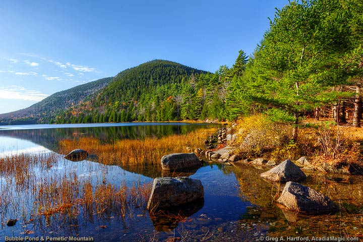 Northern end of Bubble Pond in Acadia National Park with view of Pemetic Mountain