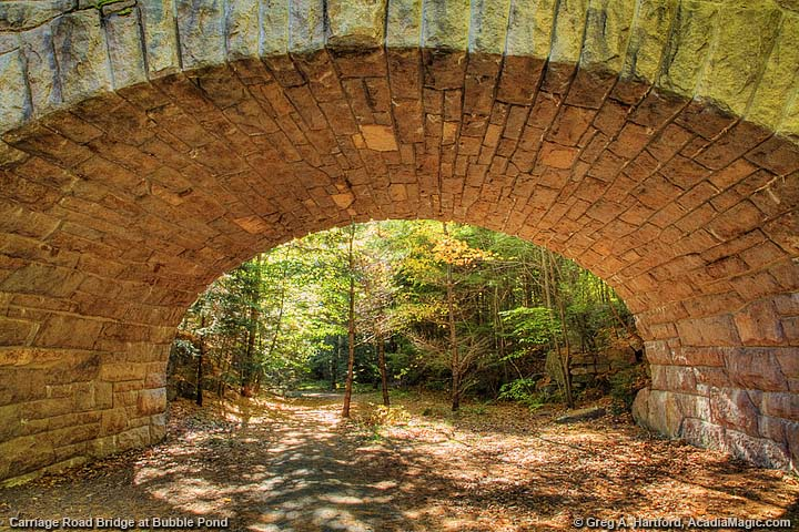 Arched Stone Faced Carriage Road Bridge at Bubble Pond
