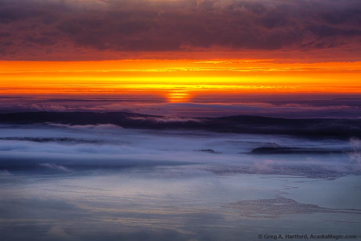 Fog over ocean and Schoodic Peninsula